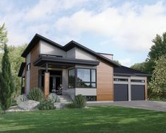 This magnificent modern one storey house has a sloped roof and is 50 feet wide by 56 feet long, offering a living area of 1,893 sq. ft. which includes a double garage of 540 sq. ft. with its own entrance.  It has a sunken entryway, a large open-concept area with a cathedral ceiling in the living room, a kitchen with an island, transom windows above the cupboards and a large pantry, a dining room and direct access to the covered terrace.  The house also includes a laundry room with a counter…