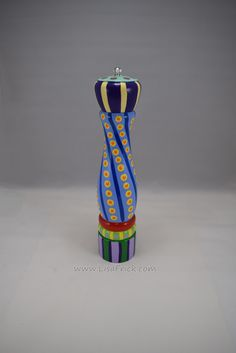 "Hand Painted Salt or Pepper Grinder, 12"" tall 