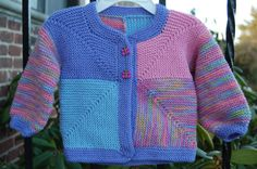 Baby Girl's Mitered Squares Jacket by adoptionmswknits on Etsy, $40.00