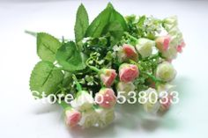 Free Shipping 4 Bouquet  25 buds Artificial Small Bud Rose Pink Blue Red Silk Flower Gift  Wedding Hhome Decorative  Flowers $26.99