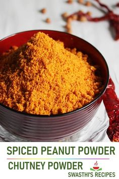 Peanut powder aka chutney powder is a spiced condiment from South Indian cuisine made with roasted peanuts, spices and herbs. Serve this with rice or any breakfasts as a condiment. #peanuts #healthy #indian via @swasthi Peanuts Healthy, Podi Recipe, Peanut Chutney, Peanut Powder, Delicious Restaurant, Indian Food Recipes, Ethnic Recipes, Curry Dishes, Indian Breakfast