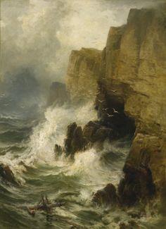 Cliffs in a Storm, Edward Moran