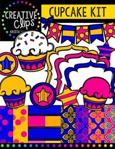 {FREE} Cupcake Creative Kit {Creative Clips Digital Clipart} This freebie is full of bright co Image Font, Teacher Freebies, Police, Cupcakes, Cupcake Creative, Cool Fonts, Coloring Pages For Kids, Digital Scrapbooking, Clip Art