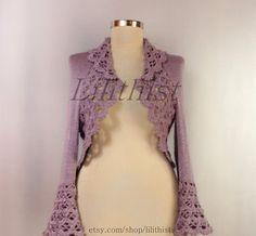 Lilac Shrug Wedding Bolero Knit Bolero Crochet Shrug от lilithist