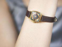 Small women's watch Soviet wristwatch cocolate brown by SovietEra, $58.00
