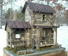 Barnwood log cabin for the birds Bird Houses Diy, Fairy Houses, Old Houses, Cabins And Cottages, Log Cabins, Little Log Cabin, Saltbox Houses, Country Crafts, Stone Houses