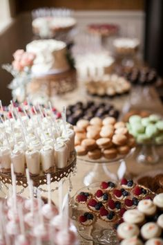 Cocoa & Fig Wedding Dessert Table - Mini Desserts, Dessert Shooters, Fruit Tarlets, French Macarons