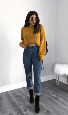 Sexy Look Fashion Style Outfit Mode Outfits, Jean Outfits, Fashion Outfits, Womens Fashion, Outfits With Mom Jeans, Tumblr Fall Outfits, Jeans Fashion, Fashion Clothes, Outfit Jeans