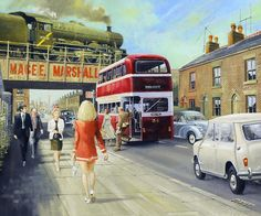 """""""From 2016 Guild of Railway Artists Exhibition comes this painting titled 2 minis, the Jubilee is Mars. Railway Posters, Travel Posters, Classic Chevy Trucks, Classic Cars, Bus Art, Nostalgic Art, Train Art, New Trucks, Vintage Trucks"""