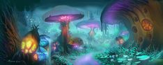 Zangarmarsh - Orange, purple and light blue lights with a dark blue background. World Of Warcraft, Warcraft Art, Fantasy Rpg, Medieval Fantasy, Forest Games, Mushroom Art, Magical Forest, Fantasy Places, Dark Blue Background