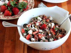 Ambitious Kitchen | Fresh Strawberry Basil Quinoa Salad with Goat Cheese, Sunflower Seeds & Lemon Vinaigrette