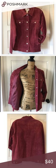 "Genuine Leather Jacket Burgundy Leather (jean jacket style) jacket, silvertone button front and cuffs, fully lined, 100% leather, lining 100% Polyester. Chest 44"" length 24 1/2"" Casual Workstyles Jackets & Coats Jean Jackets"