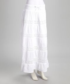 White Crocheted Lace Tiered Skirt