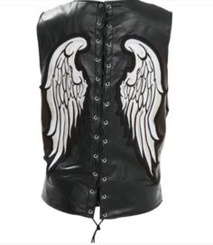 Diamond Plate Womens Silver Angel Wing Leather Motorcycle Vest comes in a solid black color with side laces for sizing and large embroidered silver angel wings on the back, and a zip up front for womens bikers and cruiser style motorcycle riders. Leather Biker Vest, White Angel Wings, Motorcycle Vest, Lady Biker, Solid Black, Zip Ups, Black Leather, Rock Design, Plate