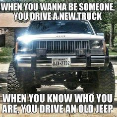 We have an old Jeep as our toad so we like this! Jeep Zj, Jeep Xj Mods, Jeep Wrangler Yj, Jeep Quotes, Jeep Humor, Truck Memes, Badass Jeep, Old Jeep, Lakes