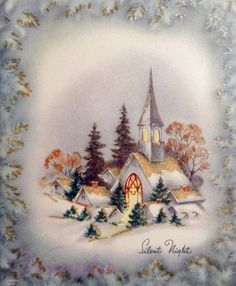 Old Christmas Post Сards — Church with lighted steeple surrounded by snow covered village. Vintage Holiday Postcards, Vintage Christmas Images, Old Christmas, Christmas Scenes, Retro Christmas, Christmas Pictures, Vintage Cards, Vintage Gifts, Christmas Greeting Cards