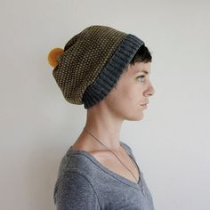 Knit Slouchy Hat Wool Beanie - Charcoal & Mustard with Mustard Pom Pom