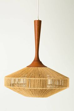 Fog & Morup Hanging Light with Teak Stem and Jute-Wrapped Shade image 3