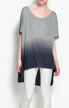 Gradient Grey Loose Short-sleeve Shirt