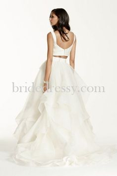 Mikado Crop Top With Organza Skirt Ivory Galina Signature Wedding Dress