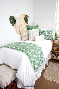 Dorm season is finally here. We are so excited to launch these gorg dorm bedding designs we have been working on for months. This season we're seeing tons of pattern (think palm), texture, macrame, and unexpected fabrics. Of course, neutrals are always a good idea. Dorm Room Storage, Dorm Room Organization, Organization Ideas, Storage Ideas, Organizing, Cool Dorm Rooms, College Dorm Rooms, College Girl Apartment, College Dorm Bedding