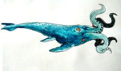 Watercolor illustration of Rokos leviathan of the deep