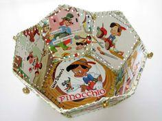 Paper Basket, Vintage Little Golden Book, Walt Disneys Pinocchio Book Crafts, Arts And Crafts, Card Crafts, Paper Basket, Little Golden Books, Art For Art Sake, Vintage Children's Books, Pinocchio, Recycled Crafts
