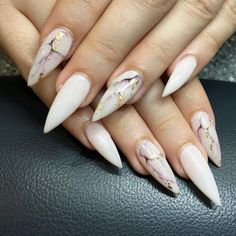 "If you're unfamiliar with nail trends and you hear the words ""coffin nails,"" what comes to mind? It's not nails with coffins drawn on them. It's long nails with a square tip, and the look has. Marble Nail Designs, Marble Nail Art, Acrylic Nail Designs, Nail Art Designs, Nails Design, Black Marble Nails, Gold Marble, Stiletto Nail Art, Cute Acrylic Nails"