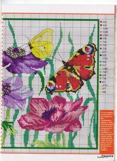 ru / Foto # 42 - Rakam - part Butterfly Cross Stitch, Butterfly Embroidery, Cross Stitch Flowers, Cross Stitching, Cross Stitch Embroidery, Cross Stitch Patterns, Anemone Flower, Butterfly Flowers, Beading Patterns
