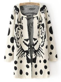 White Long Sleeve Tiger Print Polka Dot Cardigan