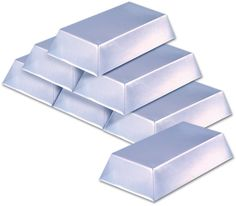 "Plastic Silver Bar Decorations - 7"""" x 4"""" x 1.5"""" Case Pack 12"