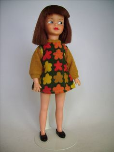"9"" vinyl Patch doll, the younger sister to the Sindy character, wearing the Mam'selle outfit Autumn Leaves, United Kingdom, 1966-67, by Pedigree."