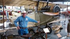 WAAAM-Museum founder Terry Brandt and his 1917 Curtis JN-14 Jenny.