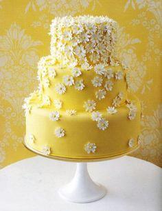 WEDDING IDEAS & INSPIRATIONS Yellow 3 tier wedding cake with daisy flower decoration by Elle F Designs. #Wedding #weddingflowers
