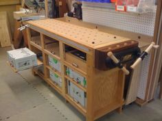 Traditional and festool hybrid workbench with systainer drawer storage