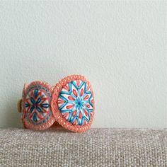 Hand Embroidered Penny Wool Felt Cuff by LoftFullOfGoodies on Etsy, $20.00