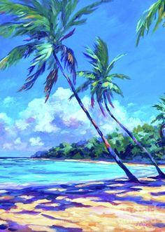 Grand Cayman Wall Art - Painting - Balmy Breezes by John Clark Beach Mural, Beach Art, Watercolor Landscape Paintings, Landscape Art, Seascape Paintings, Palm Tree Paintings, Hawaiian Art, Caribbean Art, Palmiers