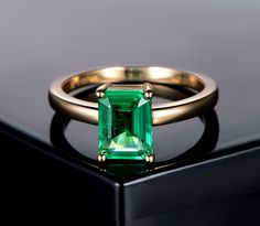Emerald Engagement Ring Emerald Cut Ring 14K by kilarjewelry