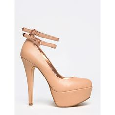 REALLOVE-05X Pump ($36) ❤ liked on Polyvore featuring shoes, pumps, nude, anne michelle pumps, sexy shoes, nude ankle strap shoes, nude platform pumps and ankle strap pumps