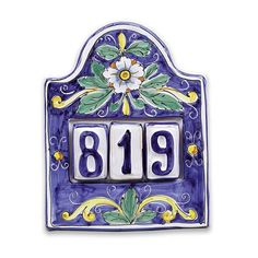 House Number Plaque for Three - Italian Pottery Outlet
