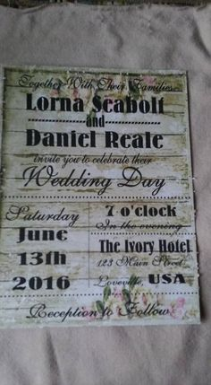50 Wedding Invitations Rustic Wood with roses with Green Hue Subway art