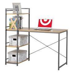 Homestar Desk with Built-In 4-Shelf Bookcase - Natural Wood