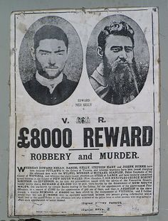 Ned Kelly – wanted for robbery and murder by Dietmar Down Under World History, Family History, Sidney Nolan, Kelly's Heroes, Ned Kelly, Australia Day, Interesting History, Old West, Mug Shots