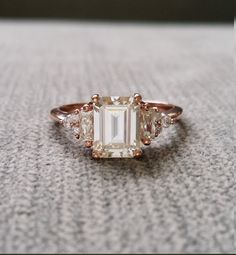 """Antique Moissanite and Diamond Engagement Ring Emerald Cut Baguette Flower Classic Rose Gold timeless PenelliBelle Exclusive """"The Margo"""" by PenelliBelle on Etsy"""