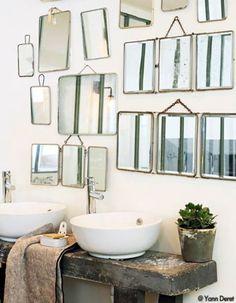 Bathroom Interior Design Vintage Mirror 57 Ideas For 2019 Old Mirrors, Vintage Mirrors, Bathroom Mirrors, Bathroom Bench, Mirror Bedroom, Rustic Mirrors, Small Mirrors, Remodel Bathroom, Bathroom Interior