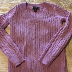 Lilac colored Chaps sweater- price lowered 4/30 Chaps lilac Colored V-neck sweater in size small.  Worn only once because I look awful in pastels, but it was such a pretty color I couldn't resist buying it! Chaps Sweaters V-Necks