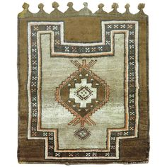 Brown Turkish Kars Square Scatter Size Rug | From a unique collection of antique and modern turkish rugs at https://www.1stdibs.com/furniture/rugs-carpets/turkish-rugs/