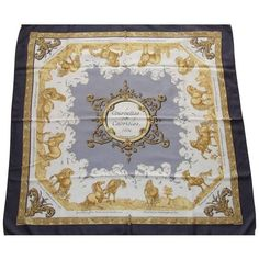 Preowned Hermes Silk Scarf Courbettes Et Cabrioles 1654 Horses Blue... (440 CAD) ❤ liked on Polyvore featuring accessories, scarves, blue, blue scarves, hermes shawl, square scarves, gold shawl and square silk scarves