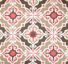 Art Deco Fabric Coral Pink & Brown by the Yard by CottonCircle