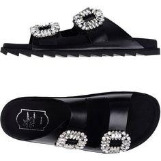 Roger Vivier Sandals (26,480 THB) ❤ liked on Polyvore featuring shoes, sandals, black, roger vivier sandals, roger vivier shoes, elastic sandals, round cap and elastic shoes #rogerviviersandals
